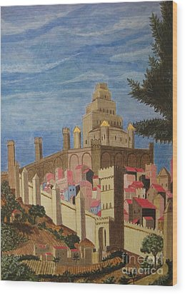 Painting   Medieval City Wood Print by Judy Via-Wolff