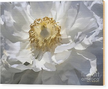 Painting Of A White Flower Wood Print by Jerry L Barrett