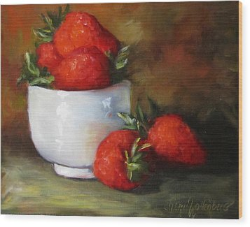 Painting Of Red Strawberries In Rice Bowl Wood Print by Cheri Wollenberg