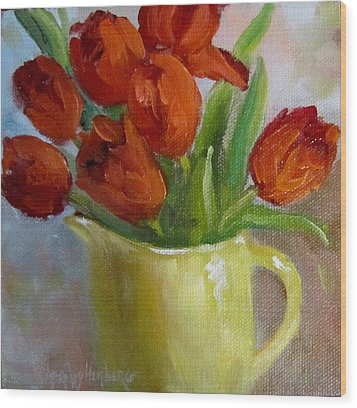 Painting Of Red Tulips Wood Print by Cheri Wollenberg