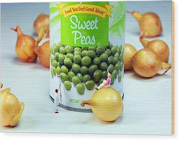Painting Sweet Peas Poster Wood Print by Paul Ge
