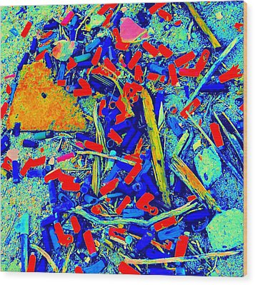 Painting With Debris Wood Print by Randall Weidner