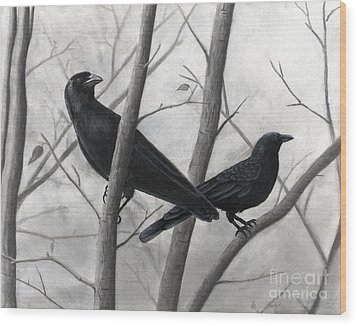 Pair Of Crows Wood Print