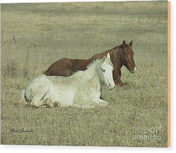 Pair Of Horses Wood Print by Yumi Johnson