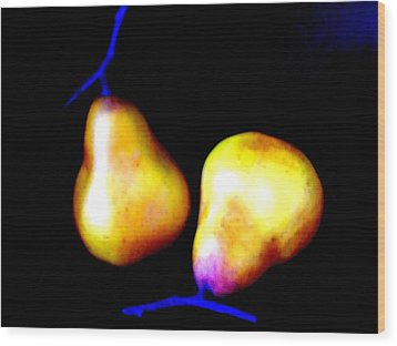 Pair Of Pears Yellow Wood Print by Randall Weidner