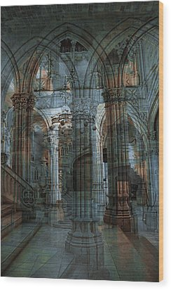 Palace Hall Wood Print by Angel Jesus De la Fuente