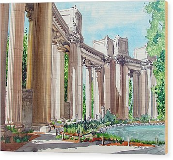 Wood Print featuring the painting Palace Of Fine Arts by Tom Riggs
