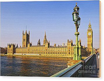 Palace Of Westminster From Bridge Wood Print by Elena Elisseeva