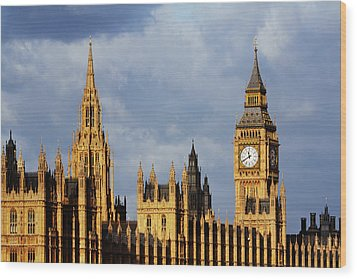 Palace Of Westminster In Winter Sunlight Wood Print by Christopher Hope-Fitch