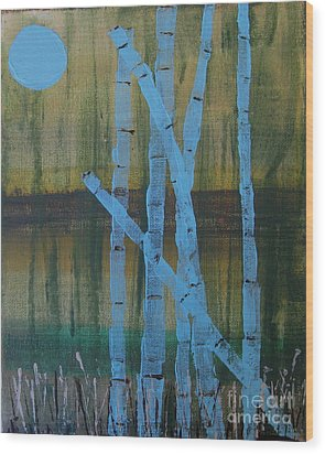 Pale Blue Moon Wood Print
