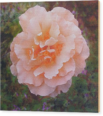 Wood Print featuring the painting Pale Orange Begonia by Richard James Digance