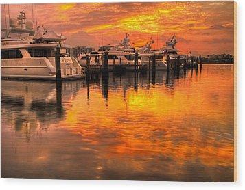 Palm Beach Harbor Glow Wood Print by Debra and Dave Vanderlaan