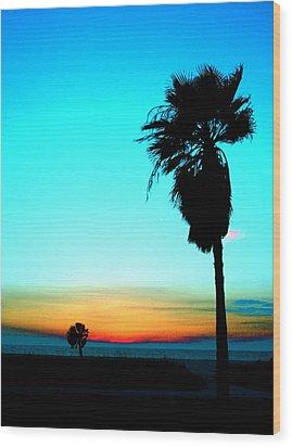 Palm Set Wood Print by Darren Cole Butcher
