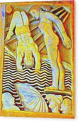 Palm Springs Swimmer Mural Wood Print by Randall Weidner