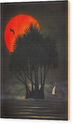 Palm Trees In The Sunset Wood Print by Tom York Images