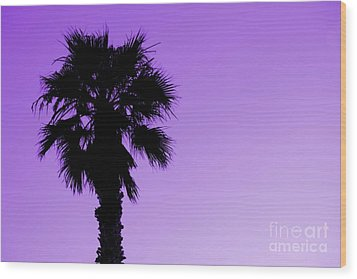 Palm With Violet Sky Wood Print by Kim Pascu