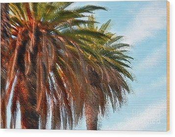 Palms A'glo Wood Print by Gwyn Newcombe