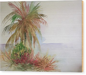 Wood Print featuring the painting Palms On Beach II by Richard Willows