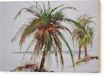 Wood Print featuring the painting Palms On Beach by Richard Willows