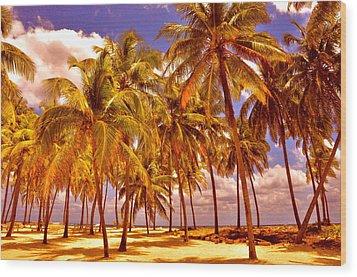 Palms On Half Moon Caye II  Wood Print by Valerie Rosen