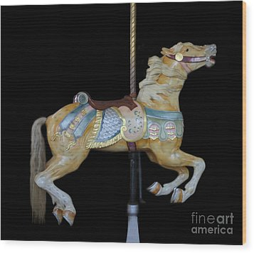 Palomino Carousel Horse Wood Print by Cindy Lee Longhini
