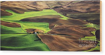 Palouse Farm Country Wood Print by Dennis Flaherty and Photo Researchers
