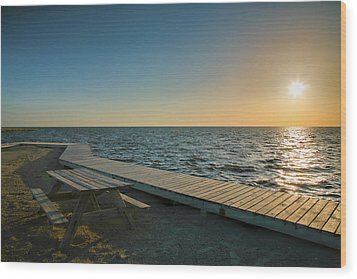 Pamlico Sound And Boardwalk I Wood Print by Steven Ainsworth