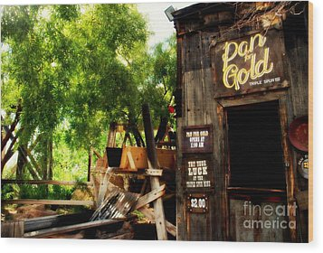 Pan For Gold In Old Tuscon Arizona Wood Print by Susanne Van Hulst