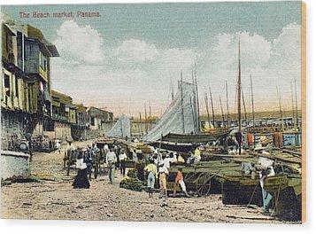 Panama City: Beach Market Wood Print by Granger