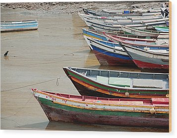 Panama, Panama City, Fishing Boats On Coastline At Low Tide Wood Print by DreamPictures