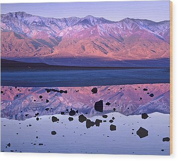 Panamint Range Reflected In Standing Wood Print by Tim Fitzharris