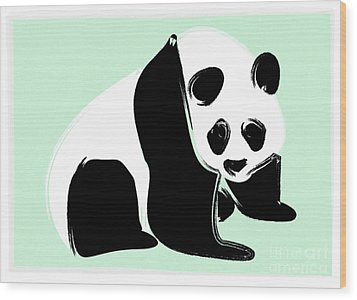 Panda On Green Wood Print by Michelle Bergersen