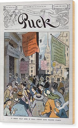Panic Of 1907. Illustration Shows Wood Print by Everett