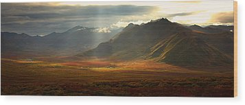 Panoramic Image Of The Cloudy Range Wood Print by Robert Postma