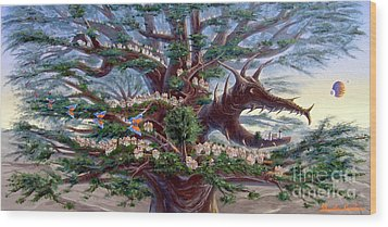 Wood Print featuring the painting Panoramic Lorn Tree From Arboregal by Dumitru Sandru
