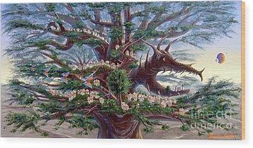 Panoramic Lorn Tree From Arboregal Wood Print by Dumitru Sandru