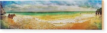 Panoramic Seaside At Tulum Wood Print by Tammy Wetzel