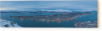 Panoramic View Of Tromso In Norway  Wood Print by Ulrich Schade