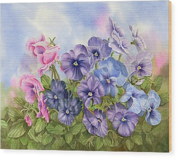 Pansies Wood Print by Leona Jones
