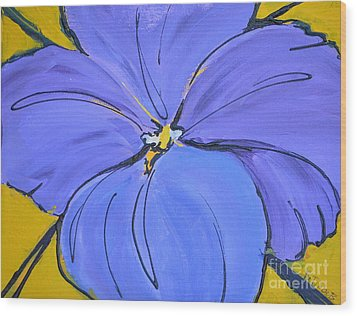 Pansy Face Wood Print by Barbara Tibbets