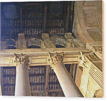 Pantheon Columns Wood Print by Mindy Newman