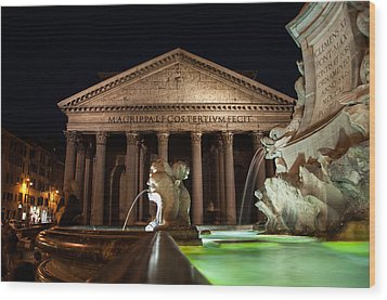 Pantheon Rome Wood Print by Stavros Argyropoulos
