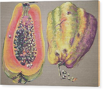Papaya For Breakfast Wood Print by Barbara Richert