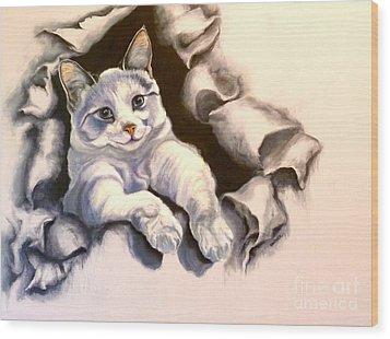 Paper Tiger Wood Print by Susan A Becker