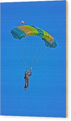 Parachuting Wood Print by Karol Livote