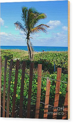 Paradise Beyond The Fence Line Wood Print