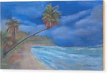 Wood Print featuring the pastel Paradise In Puerto Rico by Arline Wagner