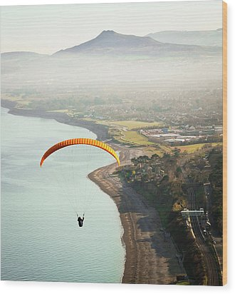 Paragliding Off Killiney Hill Wood Print by David Soanes Photography