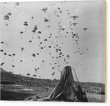 Paratroopers Jump From From C-119s Wood Print by Stocktrek Images