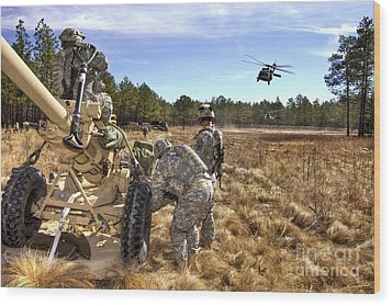 Paratroopers Prepare To Hook Up An Wood Print by Stocktrek Images